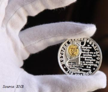ON 8 JUNE,  2012, THE BULGARIAN NATIONAL BANK PUTS IN CIRCULATION A SILVER COMMEMORATIVE COIN -250 YEARS OF SLAVIC-BULGARIAN HISTORY FROM THE SERIES  HISTORIC HERITAGE